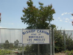 Bishop Canyon Landfill developed into a recreational park, where the baseball fields are home to the Northeast Los Angeles Little League