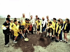 Soccer field ground breaking ceremony