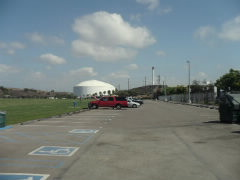 Spacious parking lot for the soccer field