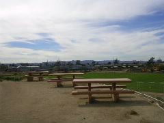 Recreational area overlooking the baseball field