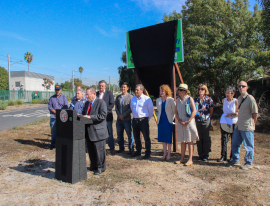 The Westwood Greenway Project ceremony was led by Los Angeles City Councilmember Paul Koretz with participants from Board of Public Works, LA Sanitation, Bureau of Engineering, Recreation and Parks, Westside Neighborhood Greenway Advisory Committee, Santa Monica Bay Restoration Commission, and Natural Resources Defense Counsel.