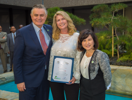 A certificate of recognition was given to Wastewater Treatment Operator II Lisa Macauley by LA Sanitation Director and General Manager Enrique C. Zaldivar, P.E. and LA Sanitation Assistant Director Traci Minamide.