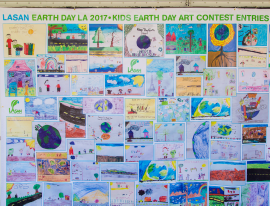 The 2017 LASAN Earth Day L.A. Artwork Contest winning artwork featured at Earth Day L.A. in Exposition Park.
