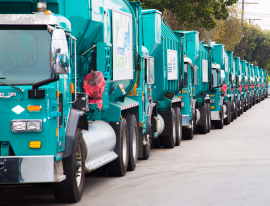 LA Sanitation refuse collection trucks line up prior to the start of the Open House.