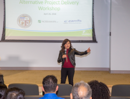 LA Sanitation Chief Operating Officer Traci Minamide provides opening remarks at the workshop.