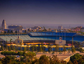 A view of Dodger Stadium from the hills overlooking the stadium.