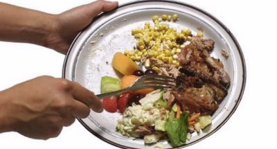 Food waste - Discarding a plate of food