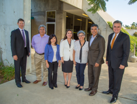 From left: David Van Dorpe (Army Corps of Engineers); Tillman Plant Shift Superintendent Mike Ruiz, LA Sanitation Chief Operating Officer Traci Minamide; Board of Public Works Commissioner Luz Rivas; Tillman Plant Manager Roshanak Aflaki; Congressmember Cardenas; and LA Sanitation Director and General Manager Enrique C. Zaldivar.