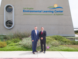 LA Sanitation Director and General Manager Enrique C. Zaldivar and Ensenada Mayor Marco Antonio Novelo Osuna pose in front of the Environmental Learning Center.