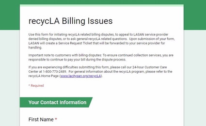 recycLA Billing Issues