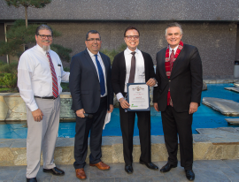 Commercial Franchise Division Manager Dan Meyers; LA Sanitation Assistant Director Alex Helou; Senior Environmental Compliance Inspector Andy Koh; and LA Sanitation Director and General Manager Enrique C. Zaldivar.
