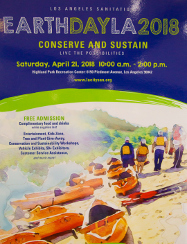 Earth Day 2018 will take place on Saturday, April 21 from 10:00 a.m. to 2:00 p.m. at the Highland Park Recreation Center. It will be the third Earth Day event LASAN has hosted.