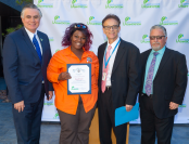 Gardener Caretaker Dianah Scates with LA Sanitation and Environment Director and General Manager Enrique C. Zaldivar; LA Sanitation and Environment Division Manager Khalil Gharios; and LA Sanitation and Environment Assistant Director Jose Garcia.