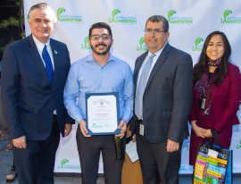 Project Coordinator Jason Flannigan with LA Sanitation and Environment Director and General Manager Enrique C. Zaldivar; LA Sanitation Assistant Director Alex Helou; and LA Sanitation Division Manager Cecile Buncio.
