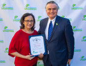 Executive Assistant Leticia Gonzalez with LA Sanitation and Environment Director and General Manager Enrique C. Zaldivar.