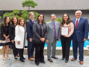 Systems Programmer II Samra Varesanovic with Public Works Commissioners Jessica Caloza, Teresa Villegas, Aura Garcia and Kevin James; LA Sanitation and Environment Assistant Director Mas Dojiri; and LA Sanitation and Environment Executive Director and General Manager Enrique C. Zaldivar.