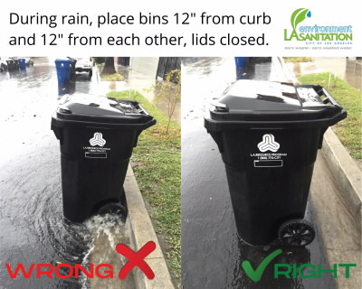 bin placement during rain